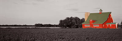 Red Barn, Kankakee, Illinois, Usa Poster by Panoramic Images