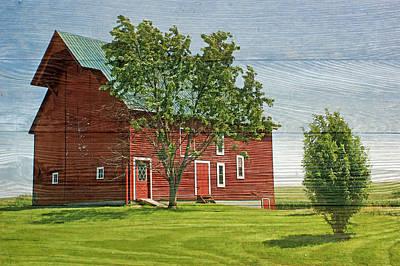 Red Barn On Siding Poster by Nikolyn McDonald