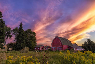 Red Barn Sunset 2 Poster by Mark Papke