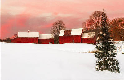 Red Barn Sunset Poster