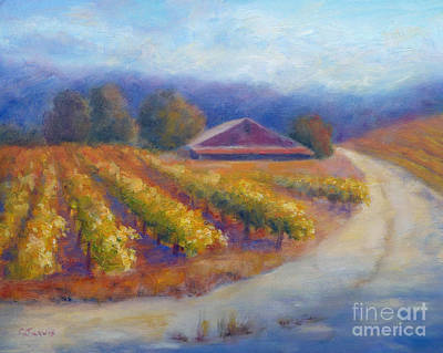 Red Barn Vineyard Poster by Carolyn Jarvis