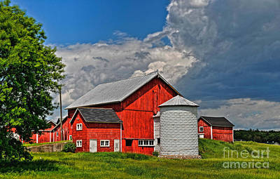 Red Barn White Silo Poster by Trey Foerster
