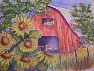 Red Barn With Sunflowers Poster