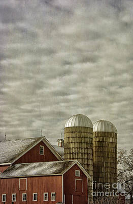 Red Barn With Two Silos Poster