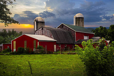 Red Barns Poster by Debra and Dave Vanderlaan