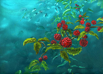 Red Berries In Blue Green Painting Poster