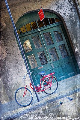 Poster featuring the digital art Red Bike by Erika Weber