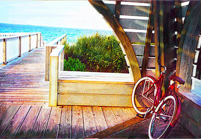 Red Bike On Beach Boardwalk Poster