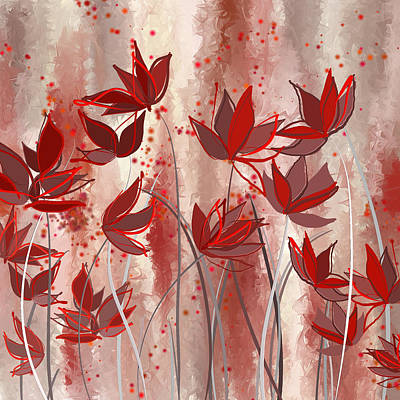 Red Blossoms- Marsala Art Poster by Lourry Legarde