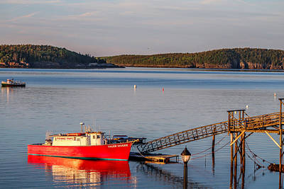 Poster featuring the photograph Red Boat Bar Harbor Me by Trace Kittrell