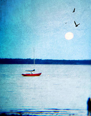 Red Boat Big Moon Poster by Ann Tracy