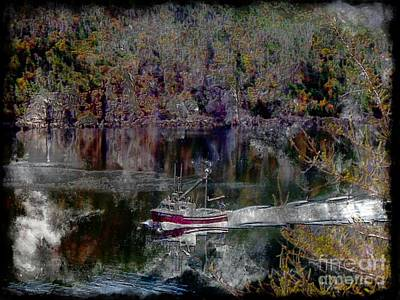 Red Boat - Seascape - Steel Engraving Poster by Barbara Griffin