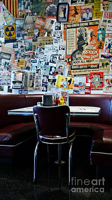 Red Booth Awaits In The Diner Poster by Nina Prommer