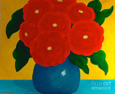 Red Bouquet Poster by Anita Lewis