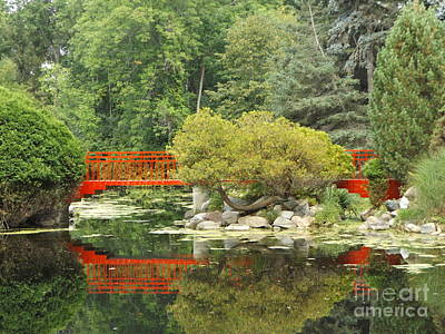 Red Bridge Reflection In A Pond Poster