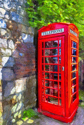 Red British Phone Box In A Little English Village Poster by Mark E Tisdale