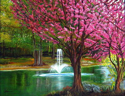 Poster featuring the painting Red Bud Tree by LaVonne Hand
