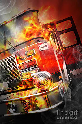 Red Burning Fire Rescue Truck With Flames Poster by Angela Waye