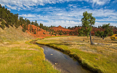 Red Buttes And The River Poster by John M Bailey