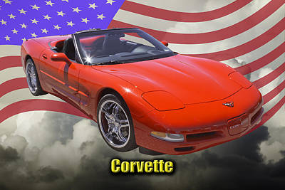 Red C5 Corvette Convertible Muscle Car Poster