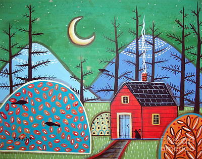 Red Cabin Poster by Karla Gerard