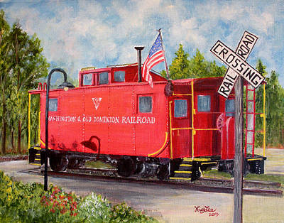 Red Caboose Poster by Huy Lee
