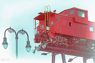 Red Caboose In The Sky2 Poster by Bonnie Willis
