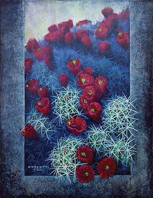 Poster featuring the painting Red Cactus by Rob Corsetti
