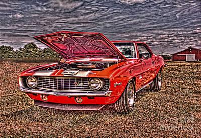 Red Camaro Poster by Jim Lepard