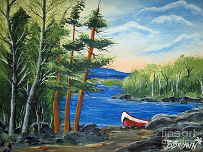 Red Canoe Poster by Brenda Brown