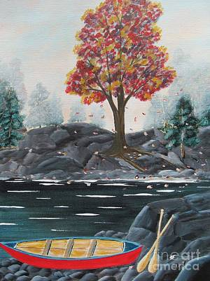 Red Canoe-burliegh Falls Poster by Beverly Livingstone