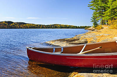 Red Canoe On Shore Poster