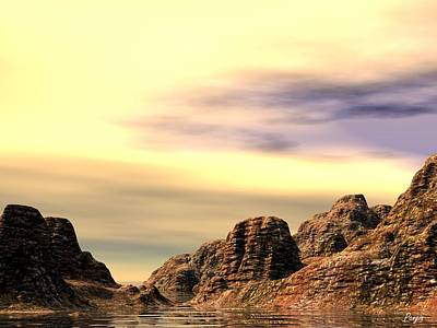 Poster featuring the digital art Red Canyon Cove by John Pangia