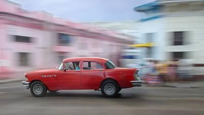 Red Car Havana Cuba Poster