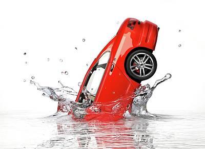 Red Car Splashing Into Water Poster by Leonello Calvetti