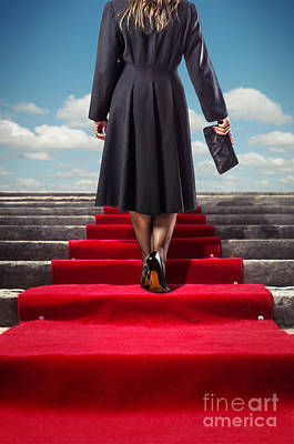 Red Carpet Stairway Poster by Carlos Caetano