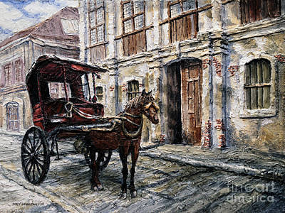 Poster featuring the painting Red Carriage by Joey Agbayani