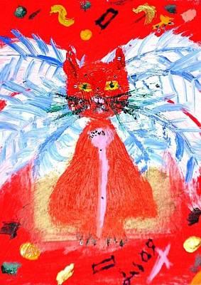 Red Cat I Poster by Leslie Byrne