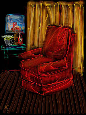 Red Chair At Night Poster by Russell Pierce