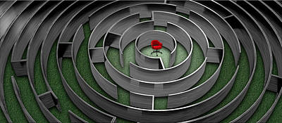 Red Chair In Middle Of Maze Poster by Panoramic Images