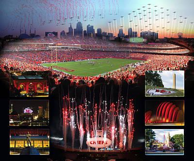 Red Kansas City Collage Poster