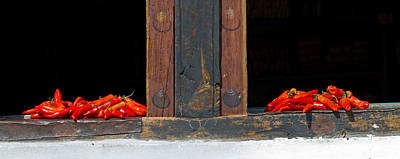 Red Chilies Drying On Window Sill Poster by Panoramic Images