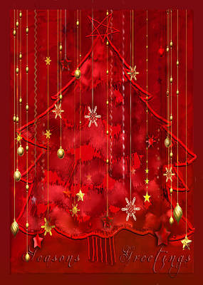 Poster featuring the digital art Red Christmas Tree by Arline Wagner