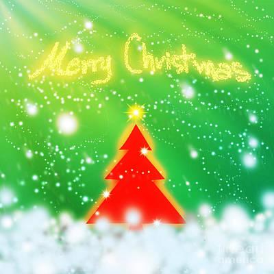 Red Christmas Tree Poster by Atiketta Sangasaeng