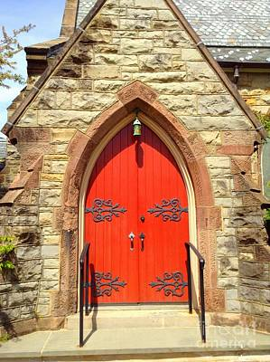 Poster featuring the photograph Red Church Door by Becky Lupe