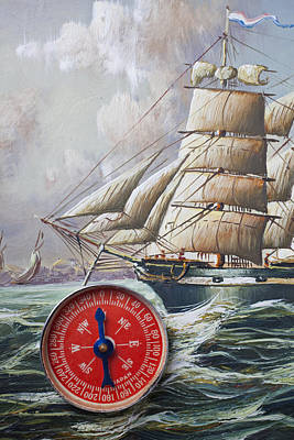 Red Compass On Ship Painting Poster by Garry Gay
