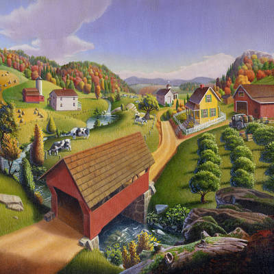 Red Covered Bridge Country Farm Landscape - Square Format Poster by Walt Curlee