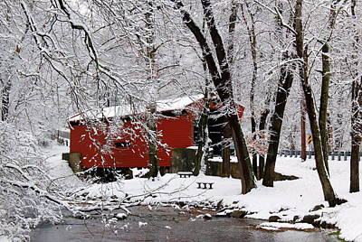 Red Covered Bridge Winter 2013 Poster by Deborah  Crew-Johnson