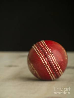 Red Cricket Ball Poster