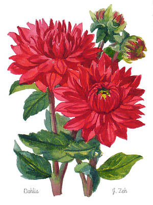 Red Dahlias Poster by Janet  Zeh
